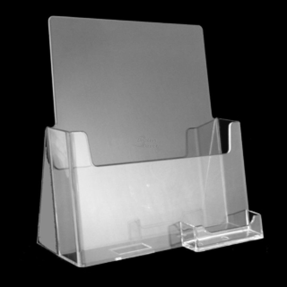 Countertop brochure holders our products displays direct 8 12 x 11 clear full size sheet brochure holder with business card holder attached magicingreecefo Choice Image